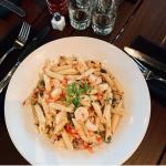 shrimp pasta at marlow's tavern family-friendly restaurant near vista cay resort